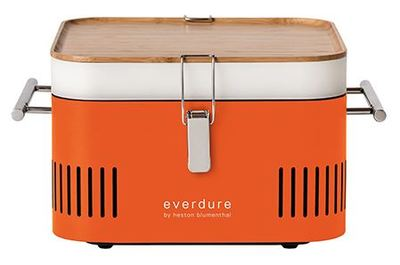 CUBE Charcoal Portable Barbeque - Orange - Everdure by Heston Blumenthal