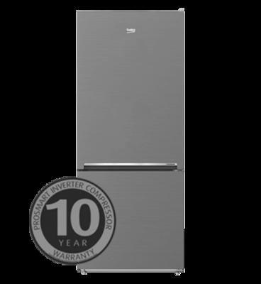 Beko 407l platinum bottom mount fridge freezer bbm407px