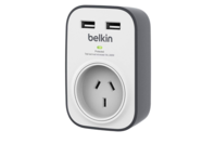 Belkin SurgeCube 1 Outlet Surge Protector with 2 x 2.4A Shared USB Charging