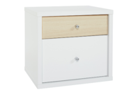 Platform10 Cosmo Bedside Table, 2 Drawer (White/Beech)