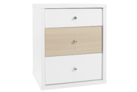 Platform10 Cosmo Bedside Table, 3 Drawer (White/Beech)