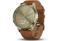 Garmin vivomove HR Light Gold Stainless Steel Case with Light Brown Leather Band