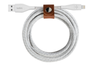 Belkin 4.0 FEET DuraTek Plus Lightning to USB-A Cable with Strap (White)
