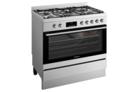 Westinghouse 90cm dual fuel pyrolytic freestanding cooker with 5 burner gas hob