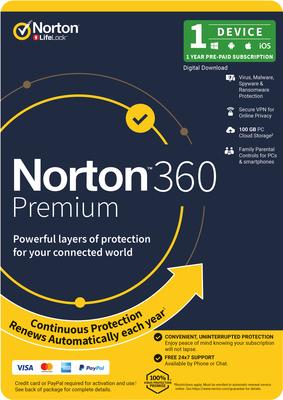 Norton 360 Premium 100GB 1 DEVICE 12 MONTH