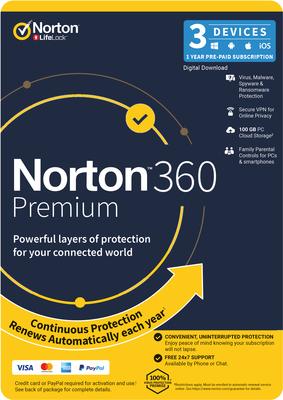 Norton 360 Premium 100GB 3 DEVICE 12 MONTH
