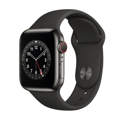 Apple Watch Series 6 GPS + Cellular, 40mm Graphite Stainless Steel Case with Black Sport Band - Regular