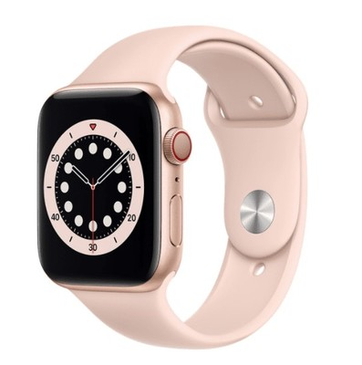 Apple Watch Series 6 GPS + Cellular, 44mm Gold Aluminium Case with Pink Sand Sport Band - Regular