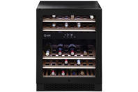 Ilve Black Glass 37 Bottle Single Door Dual Zone Wine Cabinet - Right Hinge