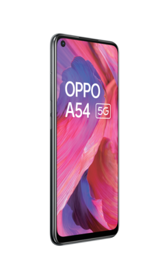 Oppo a54 5g fluid black front45left lowres