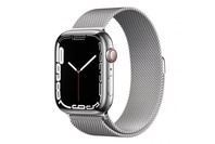Apple Watch Series 7 GPS + Cellular 45mm Silver Stainless Steel Case Silver Milanese Loop